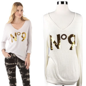 WILDFOX White Label Sweater Gold Sequins No. 9 XS